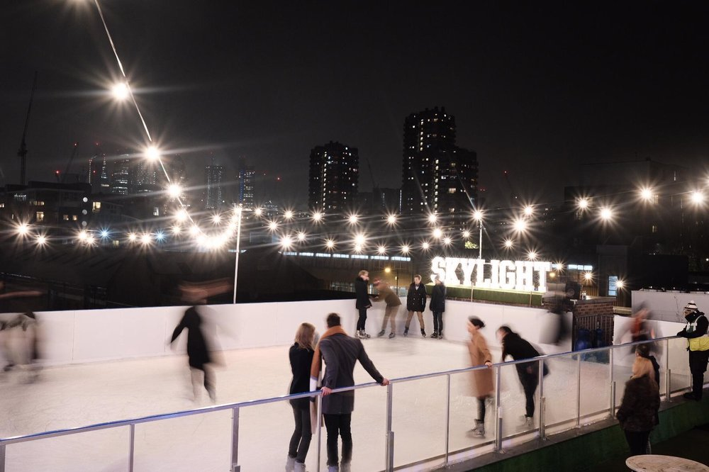 Skylight's ice rink on the winter rooftop