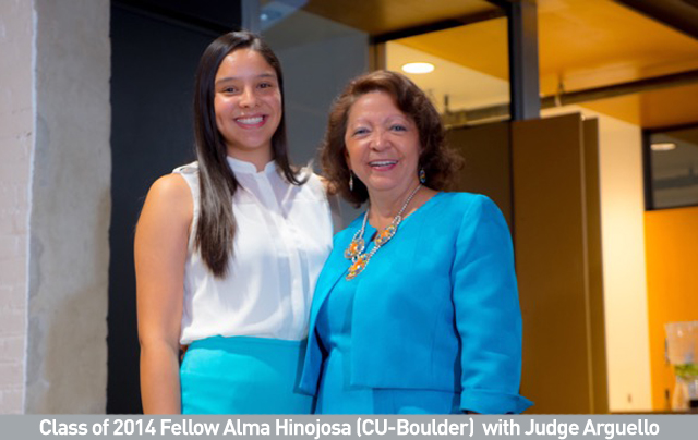 Class of 2014 Fellow Alma Hinojosa (CU-Boulder)  with Judge Arguello.jpg