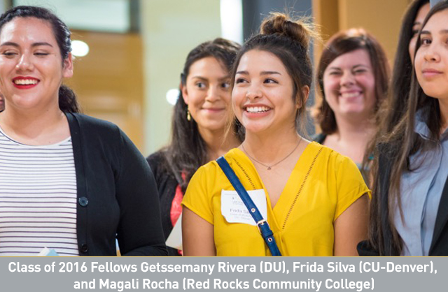 Class of 2016 Fellows Getssemany Rivera (DU), Frida Silva (CU-Denver), and Magali Rocha (Red Rocks Community College).jpg