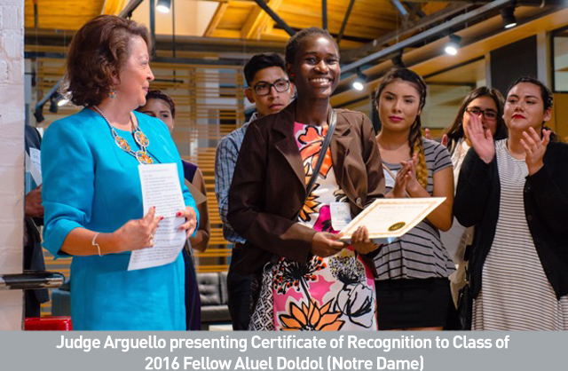 Judge Arguello presenting Certificate of Recognition to Class of  2016 Fellow Aluel Doldol (Notre Dame).jpg