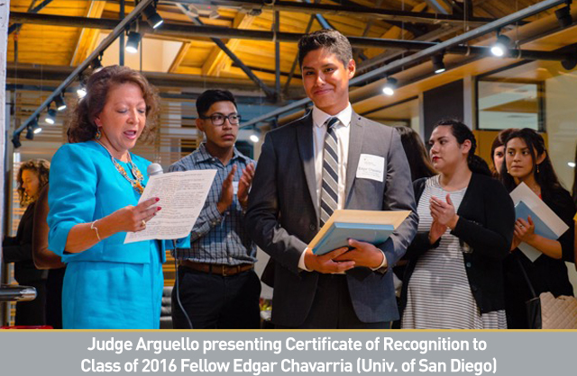 Judge Arguello presenting Certificate of Recognition to Class of 2016 Fellow Edgar Chavarria (Univ. of San Diego).jpg