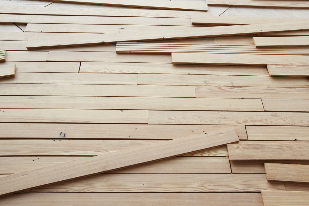 Reclaimed Heart Pine [Chalk Finish] planks on site at the new Whitney Museum, ready for Install.