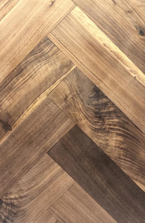 Select harvest walnut hardwood flooring herringbone