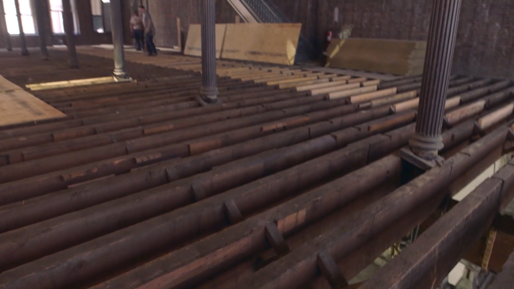 The historic floor joists inside 60 White Street.