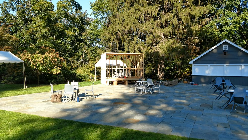 Onsite stage build at Hasbrouk House, Stone Ridge, NY.