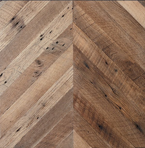 RECLAIMED OAK,SKIP PLANED, CHEVRON