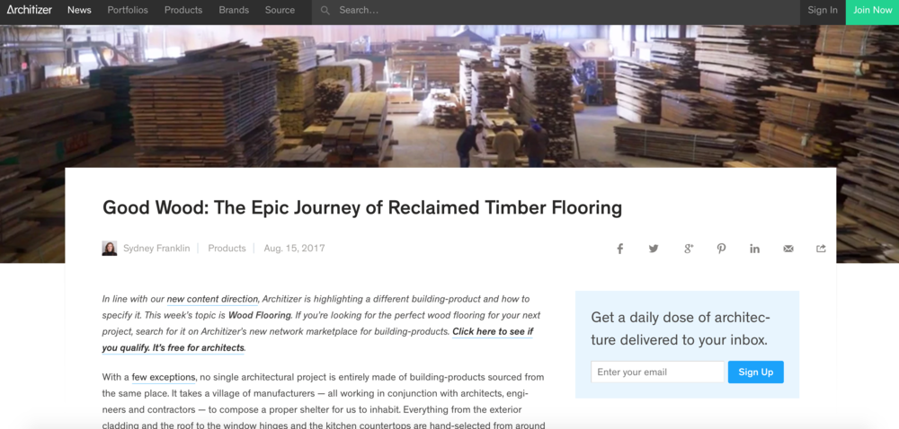 madeinusa new york ourprocess press coverage architizer press blog profile mill productions reclaimed wood flooring hudson site admin comment