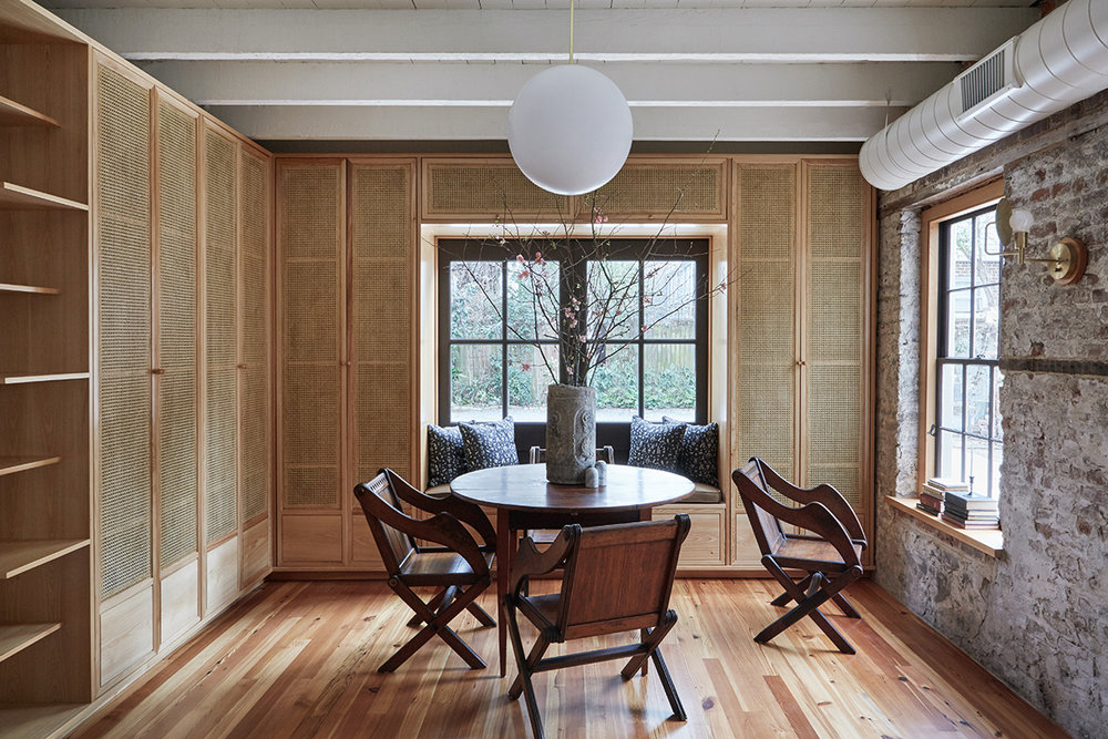 The Carriage House, interior design by    Workstead,       Reclaimed Heart Pine, Vertical Grain    flooring by The Hudson Company.