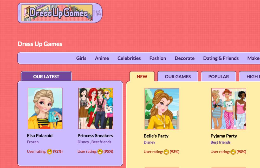Inga's website, DressUpGames.com