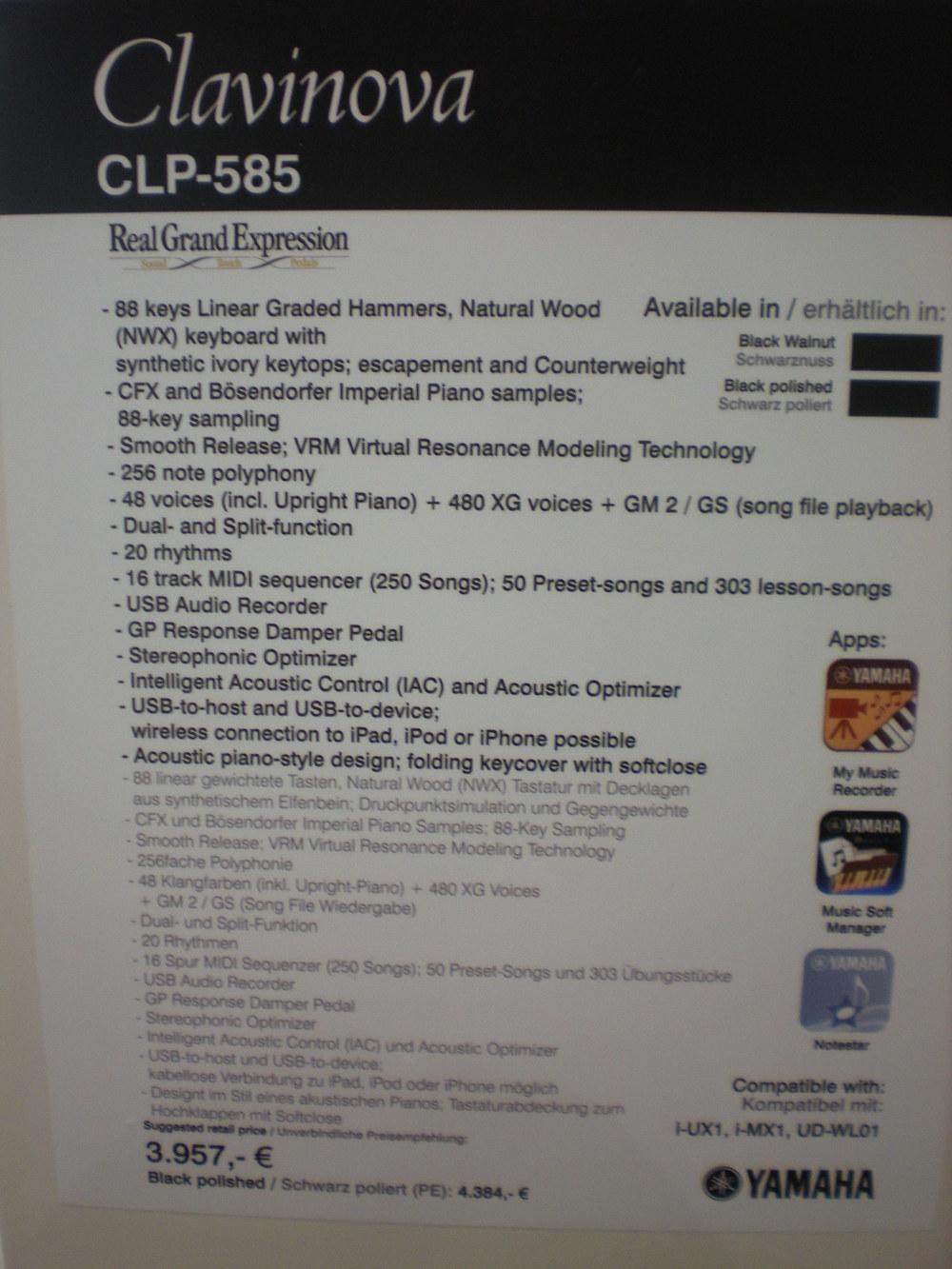 Clavinova CLP-585 specyfikacje