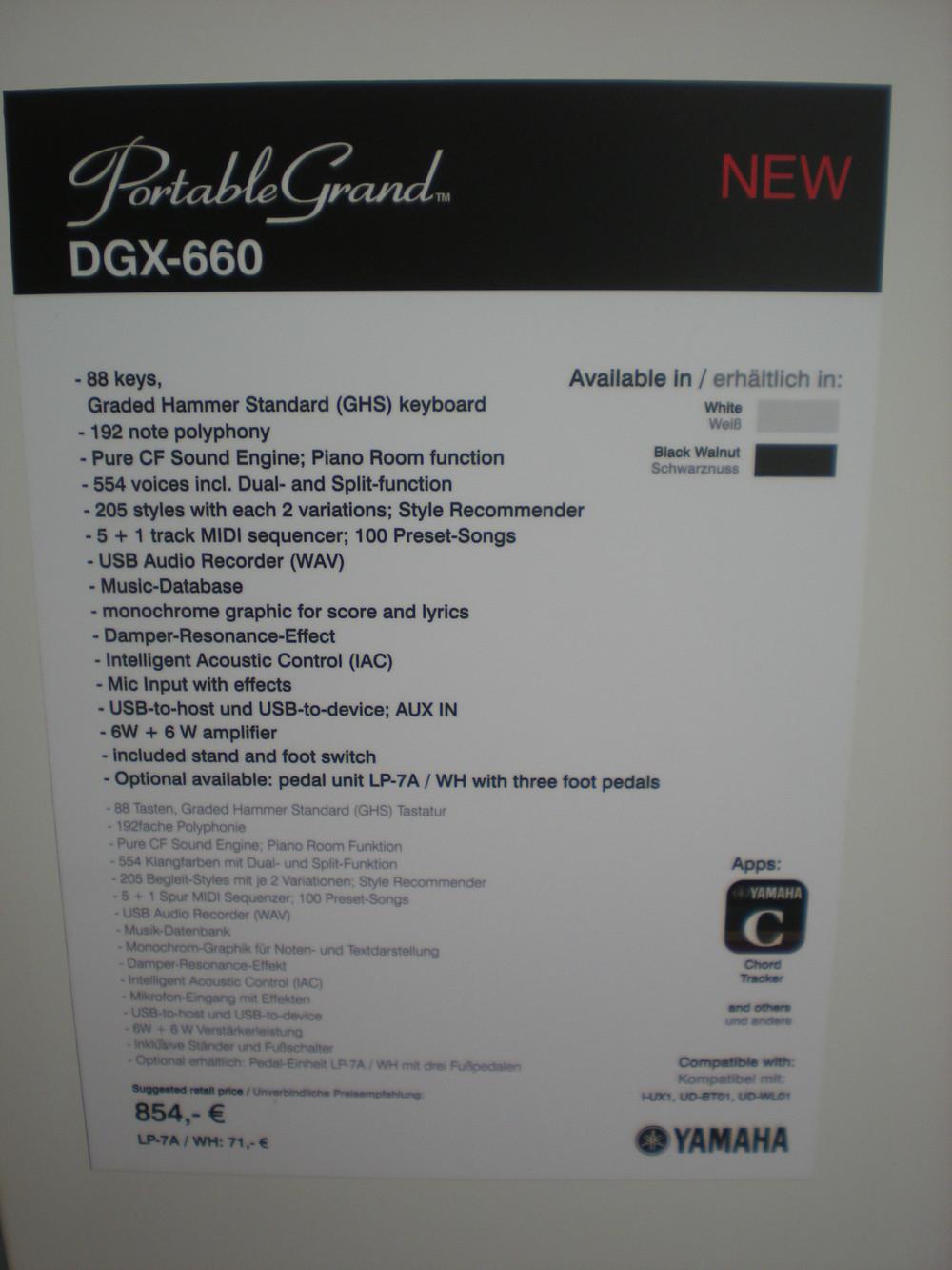 Yamaha DGX-660 specyfikacje