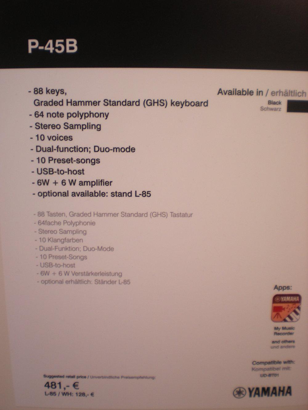 P-45 - specyfikacje