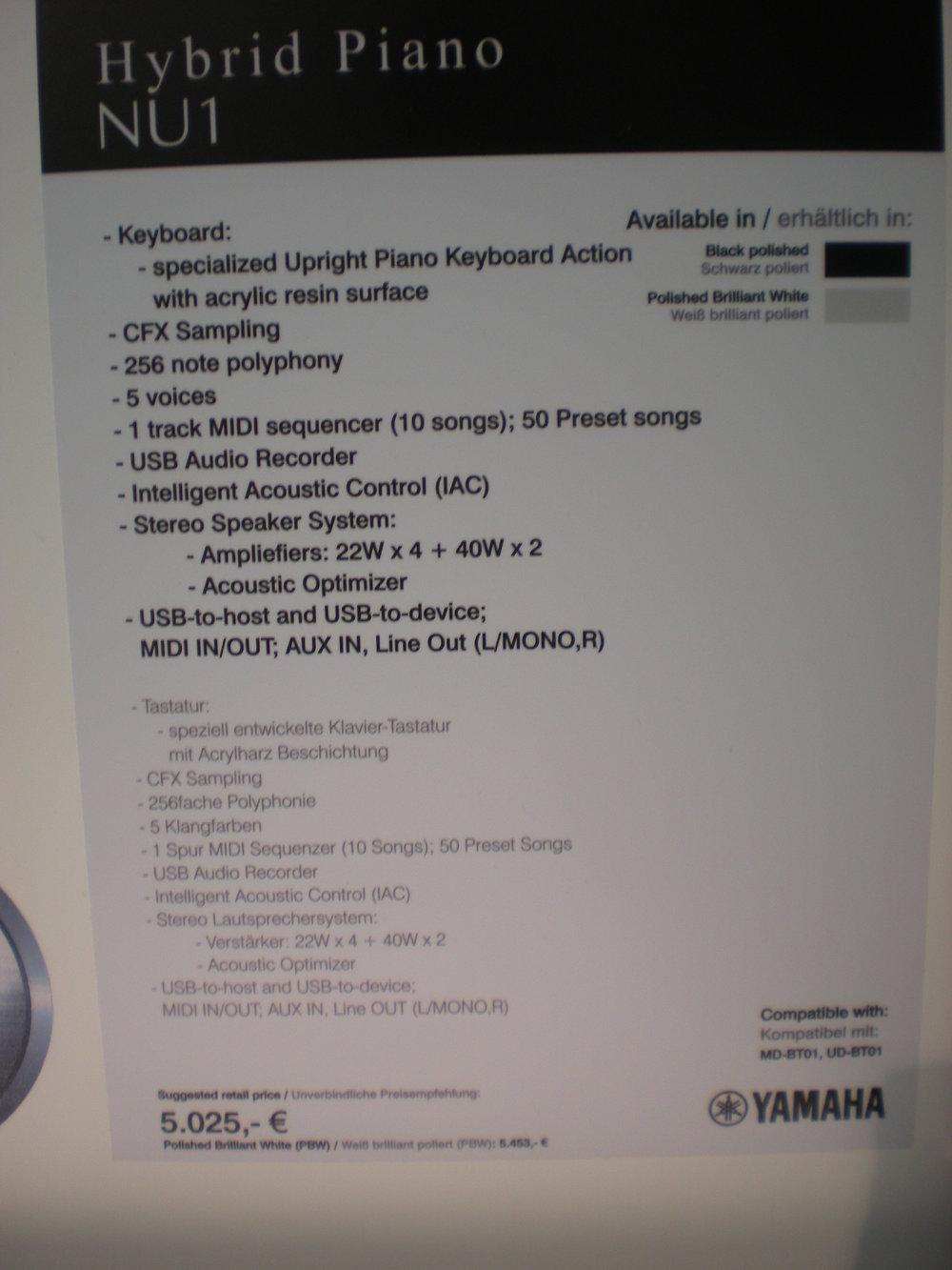 Yamaha NU1 - specyfikacja