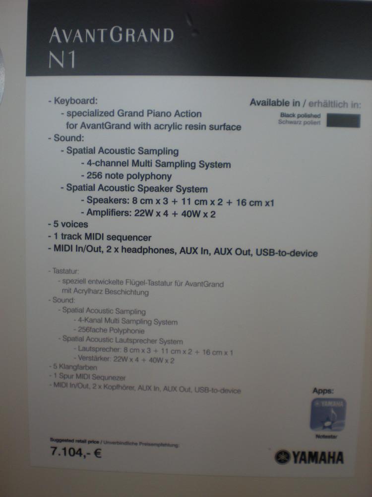 AvantGrand N1 - specyfikacje