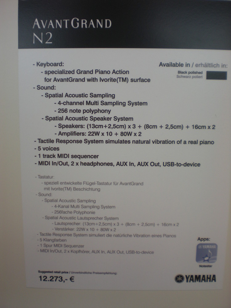 AvantGrand N2 - specyfikacje