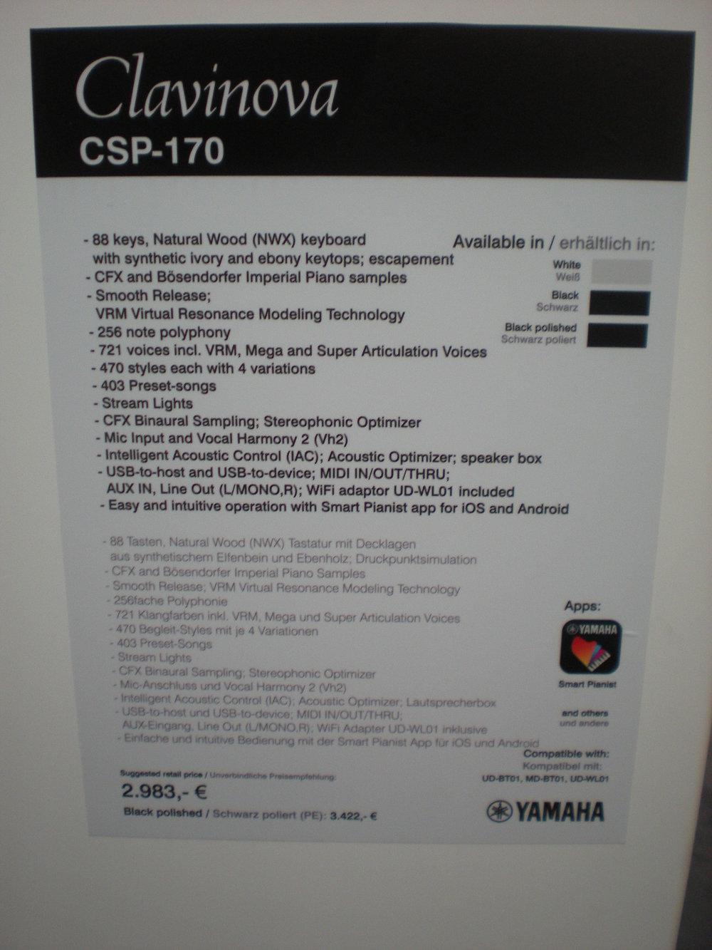 Yamaha CSP-170 specyfikacje