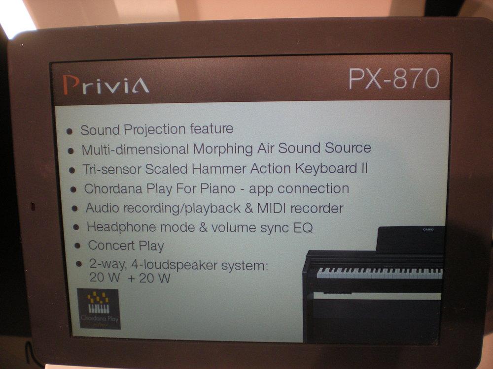 Casio PX-870 - specyfikacje