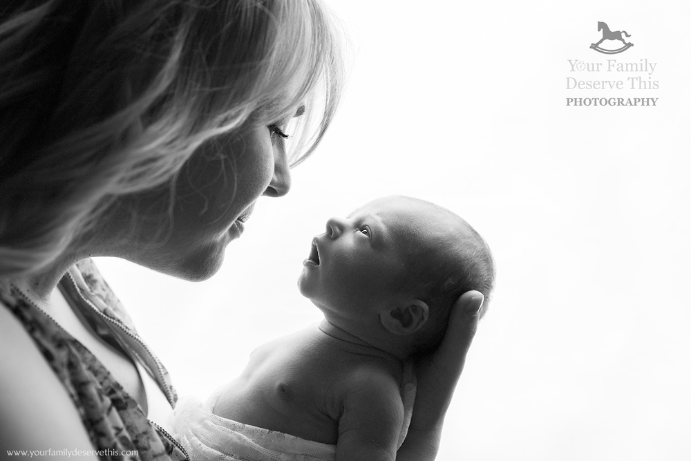 Love the way Poppy is looking at her Mum, such a beautiful black and white newborn photo. www.yourfamilydeservethis.com