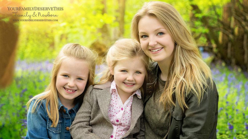 siblings girls in bluebell wood - family photographer Basingstoke Hampshire.jpg