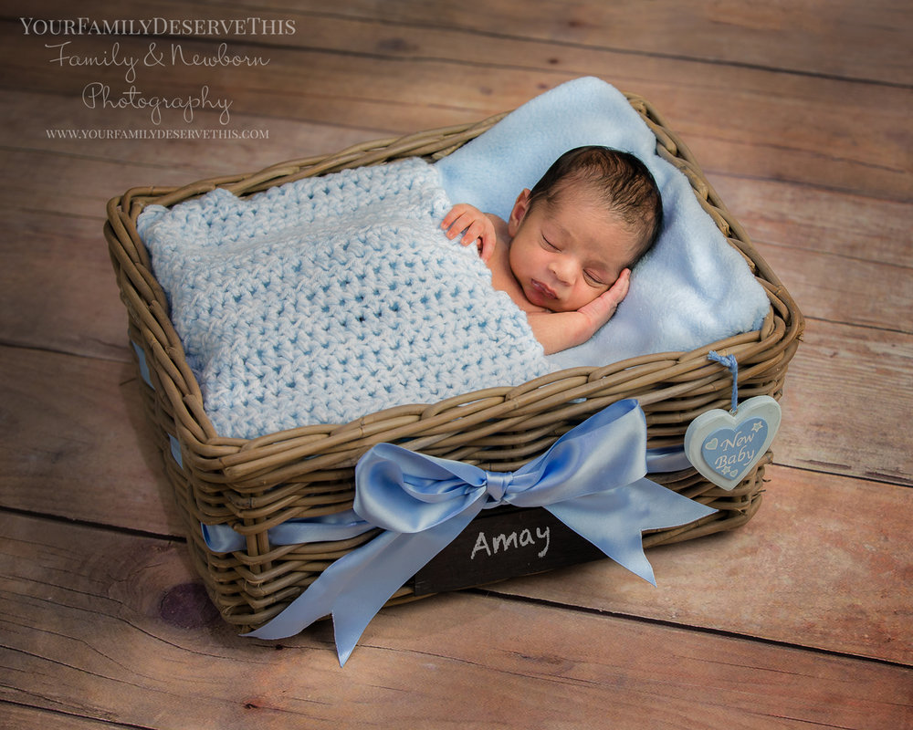 Amay sleeping in our lovely newborn photoshoot basket prop just 12 days new newborn