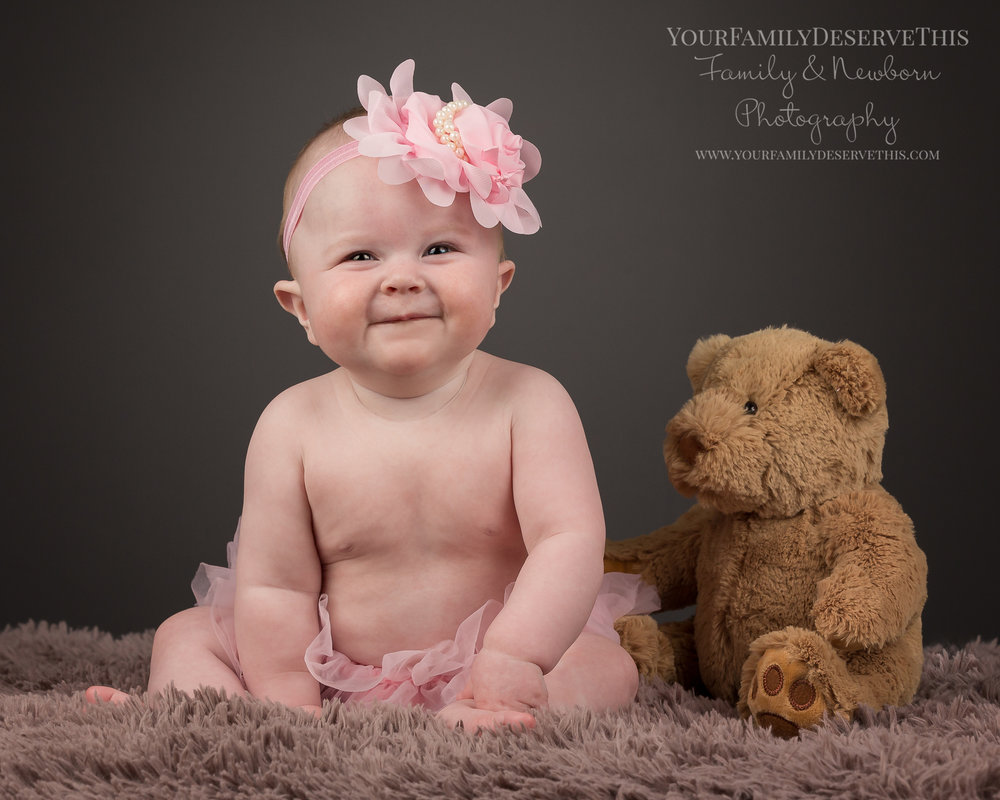 One of our favourites from Imogen's 6 month photoshoot, with Teddy again, special cuddly toys make fabulous props.