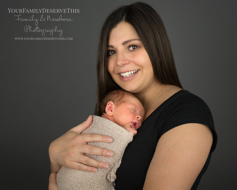 Gorgeous little Neave looks so snug with Mum, and the neutral tones work really well together.