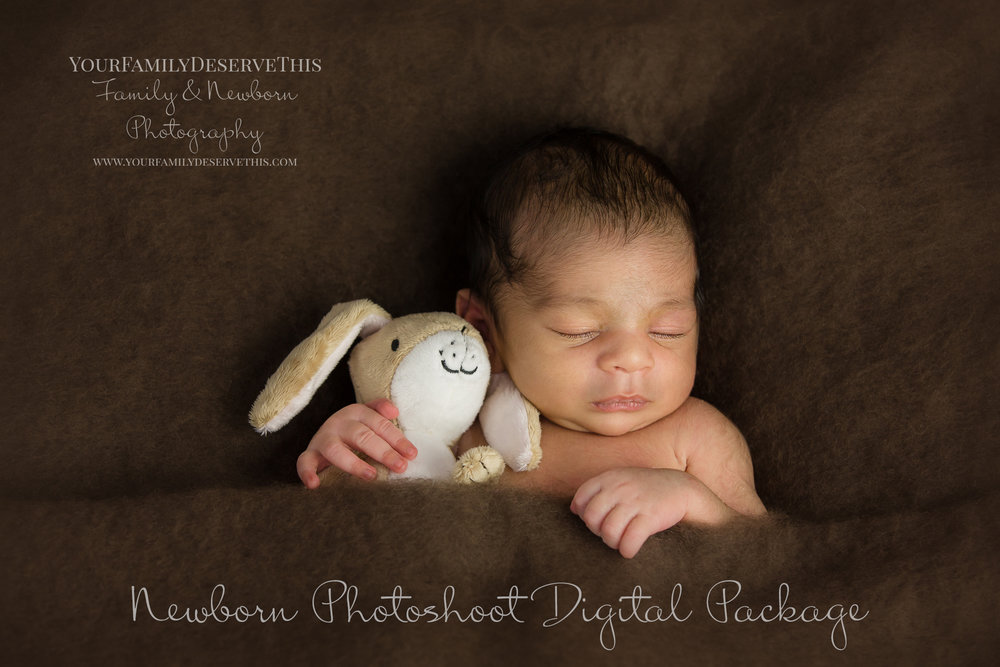 It's sleepy time in our Newborn Photography Studio. Gorgeous Amay cuddly his Little Nutbrown Hare. yourfamilydeservethis.com