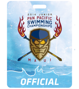 sports branding event badges for swimmers