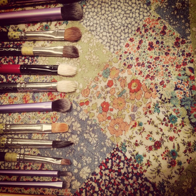 #washingbrushes and drying them on such pretty fabric ready for more #makeup tomorrow #mua #libertyfabrics