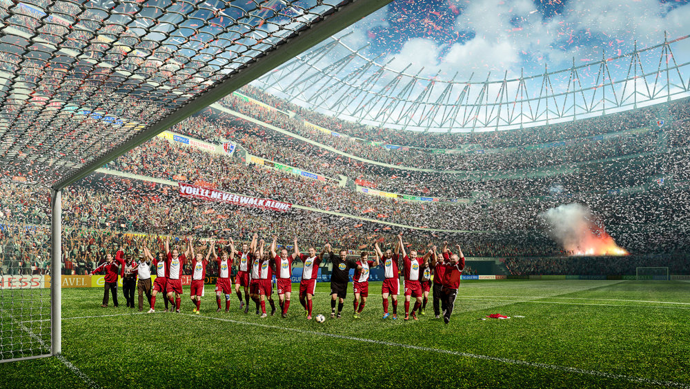 Spieler des Fußball-Clubs SV Suedharz Hayn jubeln im Stadion |Fotograf Peter Meyer pm-modus.com