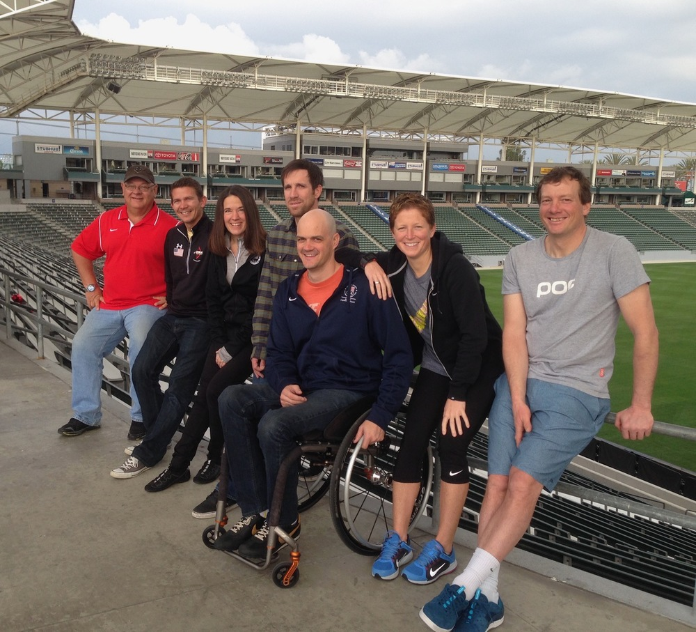Team USA Cohort 1 Coaches  -from L-R: Dave Burgering (diving), Guy Krueger (archery), Teresa Skinner (Paralympic track & field), Mike Jankowski (snowboarding), Dave Denniston (Paralympic swimming),   Michelle French (women's soccer), Peter Foley (Head Coach   snowboarding & skiing)