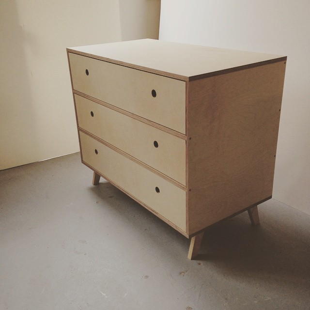 C H E S T  O F  D R A W E R S - Birch ply and reclaimed beech legs, bleached. This is a simple and elegant Scandinavian inspired design. Made especially to fit a bedroom alcove.