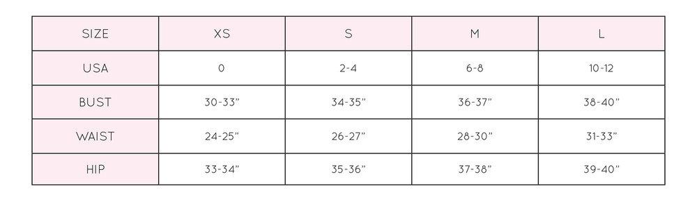 bikini bottom size chart