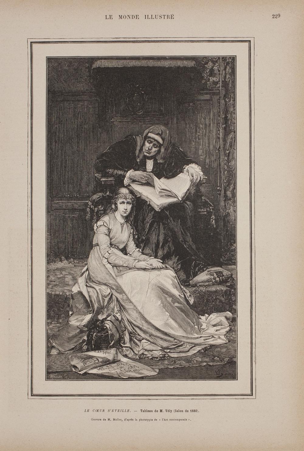 F. Moller's engraving of Le Cœur S'Éveille for April 9, 1881 issue of Le Monde Illustré