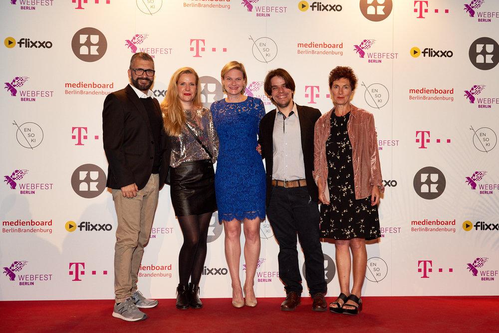 2018 Jury (L to R) - Tac Romey (PhantomFilm), Louisa Scheel (Webedia), Meredith Burkholder (Webfest Berlin CEO), Leandro Silva (Rio Web Fest), Claire Leproust (FabLabChannel)