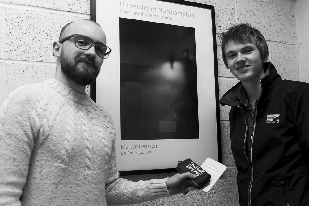 Left: Wayne Lennon • Right: Martyn Hearson • Thinktank and FieldNotes prizes. (photo by Georgia Cooke)