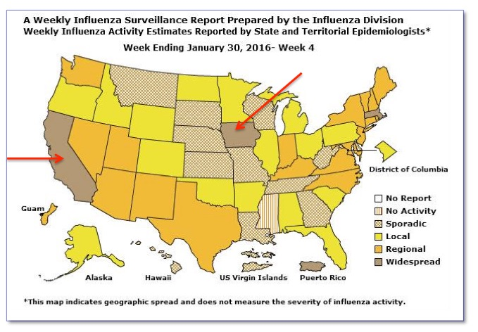 Map-1   Weekly US Map: Influenza Summary Update [ CDC ]