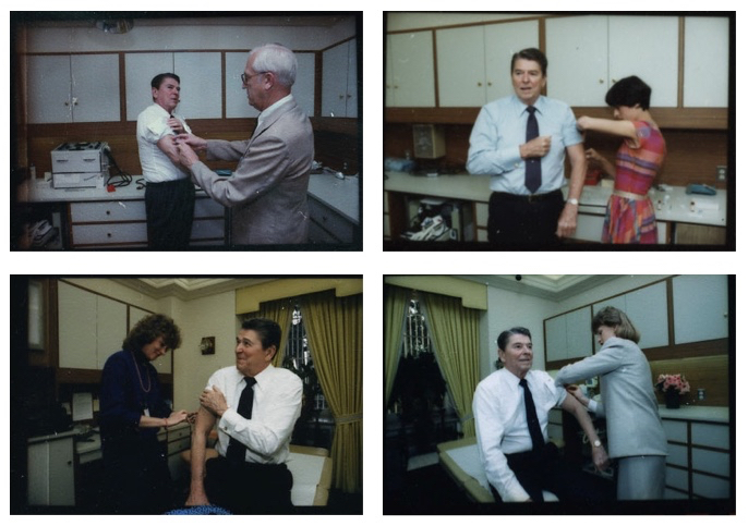 Photographs: L to R, T to B - Michael Evans: June 17, 1983; Pete Souza: July 9, 1985; March 12, 1986; March 8, 1988
