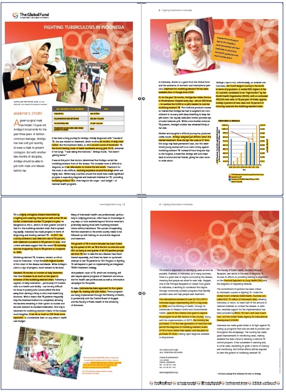 The Global Fund's brochure with every fact and figure highlighted in yellow. Copyright: The Global Fund / John Rae.