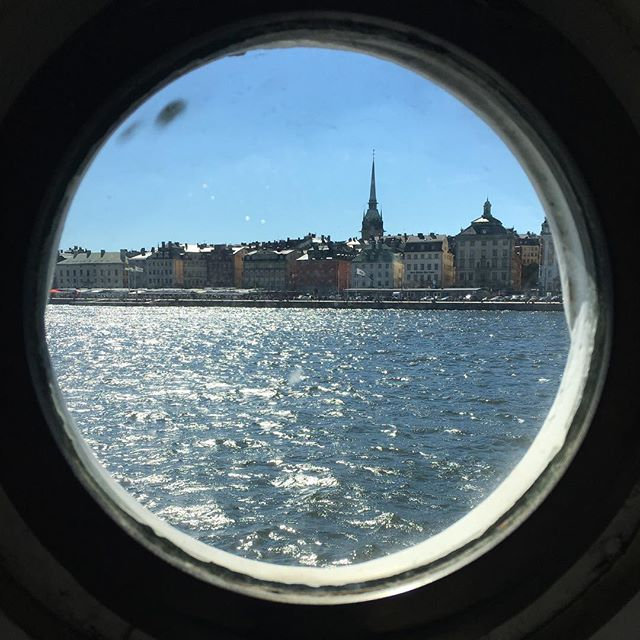 View from my porthole: dear old Stockholm.