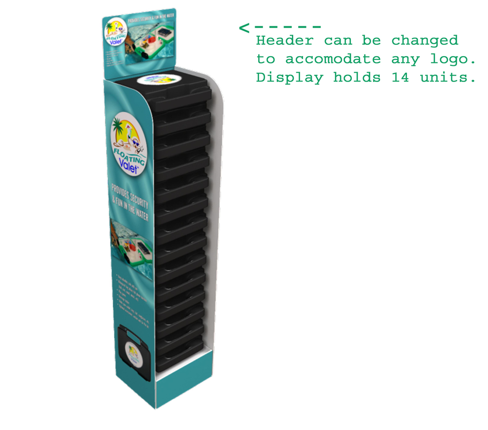 This handy display stand is a sleek way to present Floating Valets for sale in your store that requires less than 1 square foot of floorspace!  The sides and header enthusiastically explain what the product does, and each Floating Valet interlocks as it is stacked on others, so there is no risk of any ever falling out the front of the display stand.