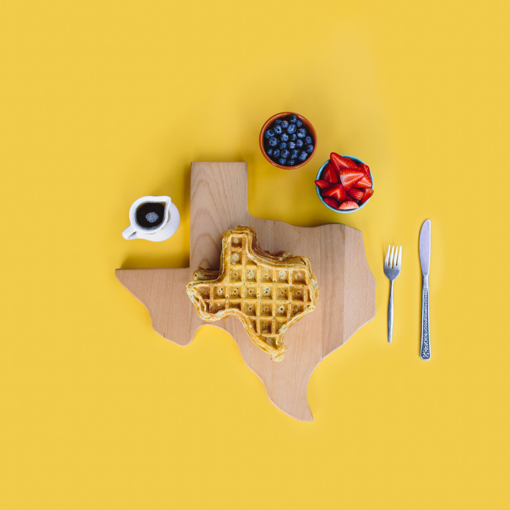 Everything's  bigger  Waffles in Texas