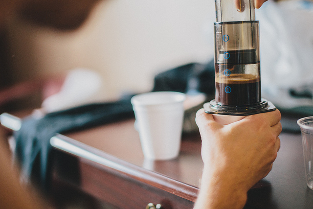 Aeropress  on Flickr.  Bring your aeropress to your hotel.