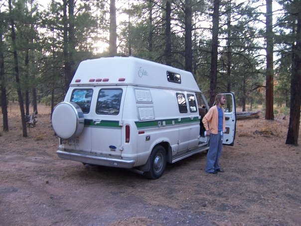 This is the Van we once had,  And that is Jesse, he is getting married this sunday, Also he got that sweater in a thrift store in a town in australia in the Blue Mountains. This photo was taken near the Grand Canyon, we drove into the forest and parked.