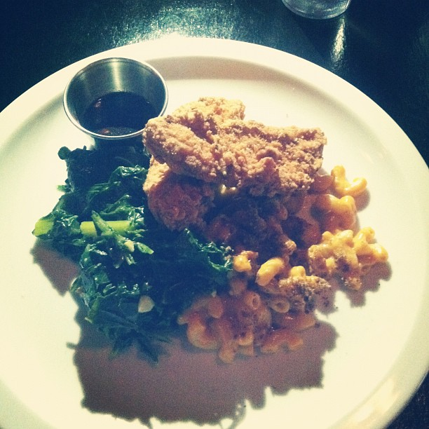 Hog town vegan unchicken, Mac and cheese and collared greens (Taken with  instagram )