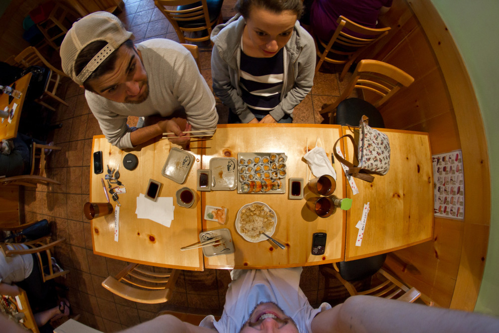 This is a photo of sushi dinner with Jesse and Emma. Jesse took it, in all fairness -Zach EOS 7D 6.5mm Fisheye