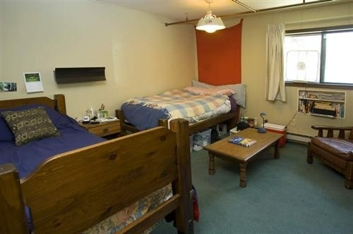One of our double occupancy dorm rooms - Triple occupancy dorm rooms have one twin bed and one bunk bed.