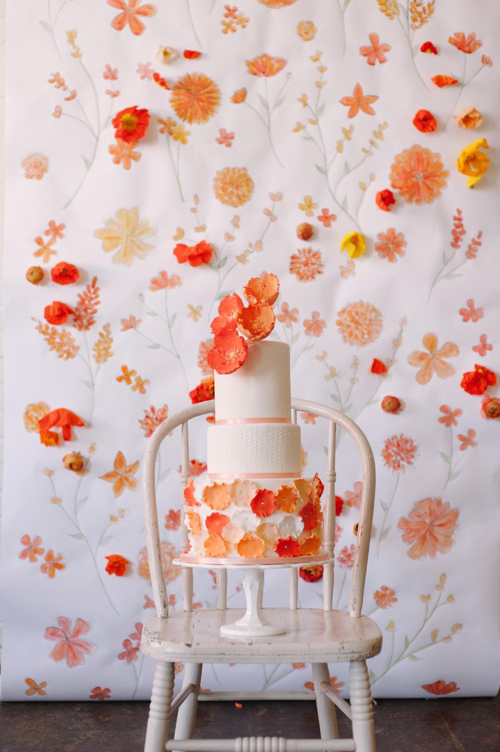 Orange Poppy Wedding Cake - Photo by Sweet Root Village
