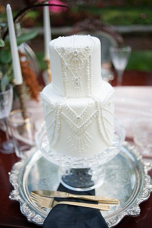 White Beaded Piped Wedding Cake - Photo by Jessica Maida Photography