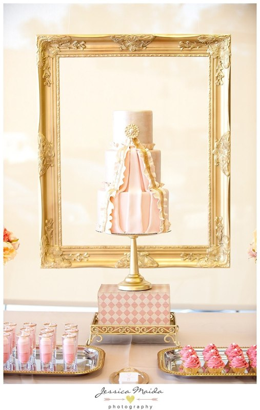Richmond Bride Cover Ruffle Pink & Gold Cake - Photo by Jessica Maida Photography